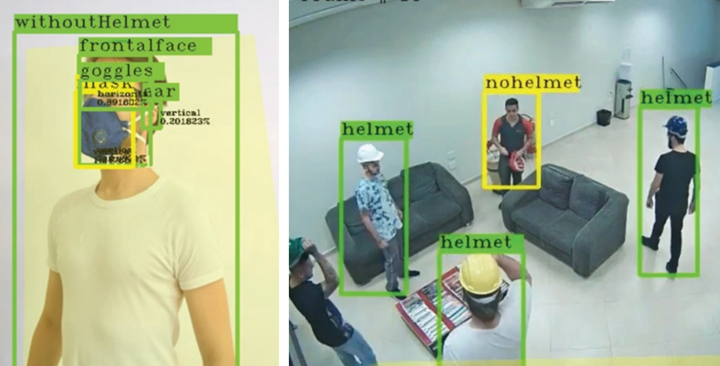 Redvision's VMS1000 IPX Analytics provides PPE face mask, goggles and helmet detection.