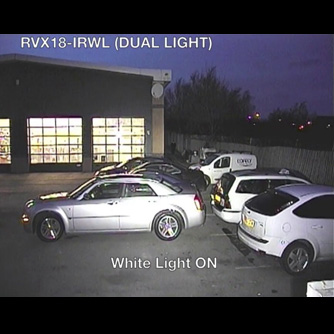 X-Series PTZ (code: RVX18-IRWL) Dual IR + WHITE light: Showroom Forecourt - creep zone